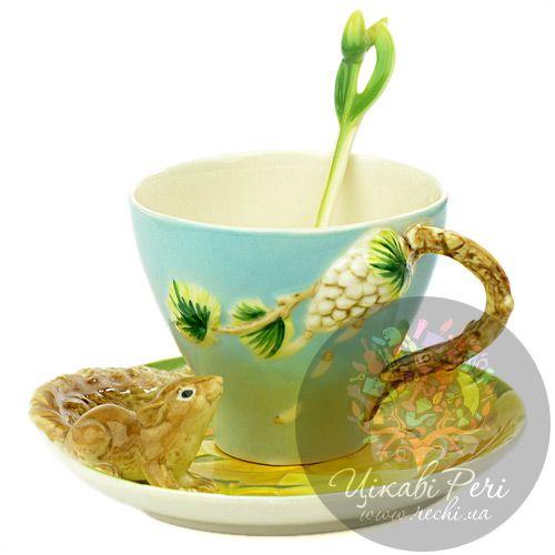 Набор Белочка: чашка блюдце ложечка Pavone, фото