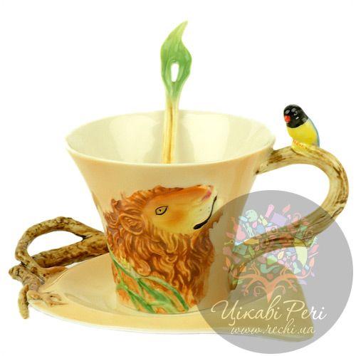 Набор Лев: чашка блюдце ложечка Pavone, фото