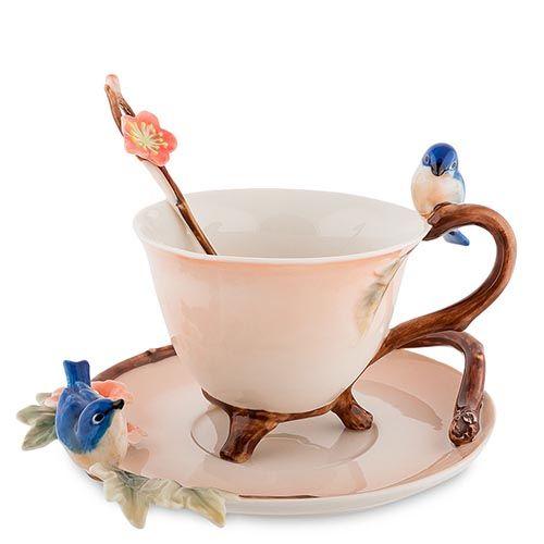 Чайная пара Pavone Голубые птицы, фото