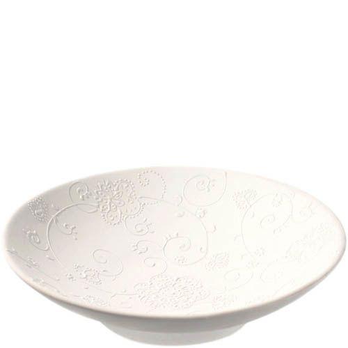 Фруктовница Eterna керамическая матовая белая с рельефным цветочным узором 34 см, фото
