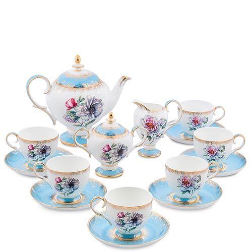 Чайный сервиз Pavone на шесть персон Цветок Неаполя из фарфора, фото