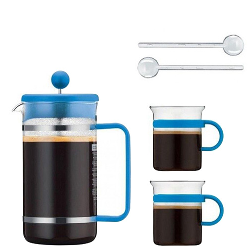 Синий френч-пресс Bodum Bistro set с 2 чашками и 2 ложками, фото