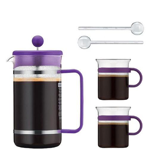 Фиолетовый френч-пресс Bodum Bistro set с 2 чашками и 2 ложками, фото