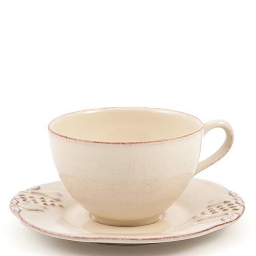 Чайная чашка с блюдцем Costa Nova Mediterranea бежевого цвета 250мл, фото