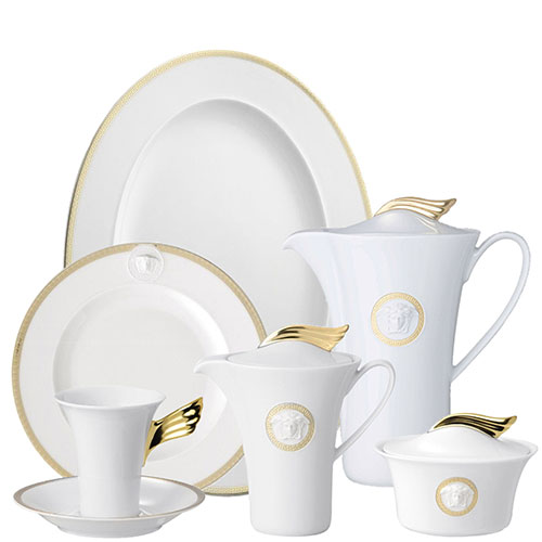 Белый кофейный сервиз Rosenthal Versace Medaillon Meandre d'Or, фото