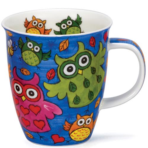Чашка Dunoon Nevis Owls Синий фон, фото