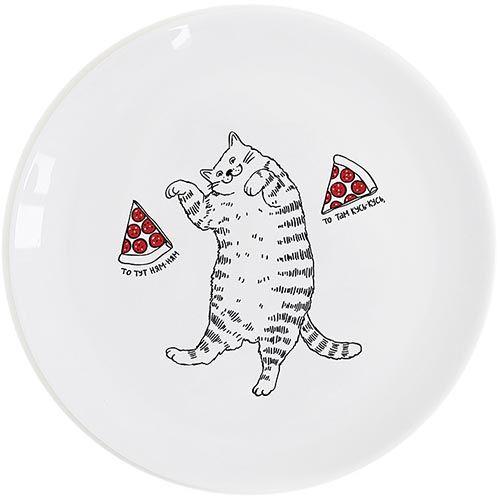 Тарелка Orner Store Кот с пиццей, фото