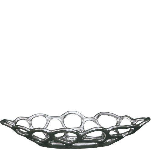 Фруктовница Eterna керамическая серебристая удлиненная, фото