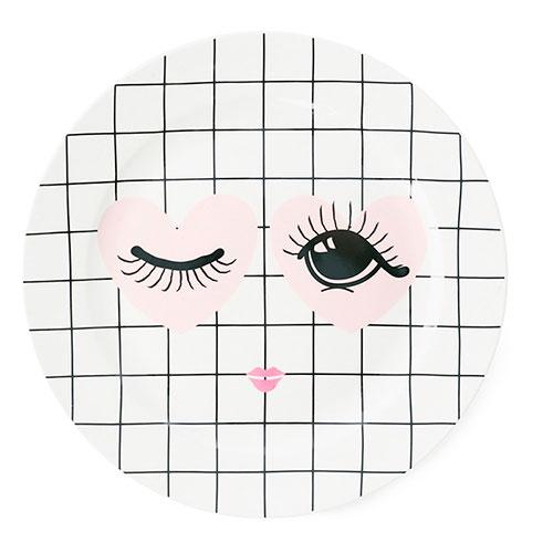 Белая тарелка Miss Etoile Heart and eyes 25см, фото