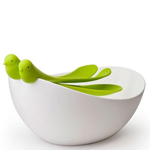 Салатница с ложками Qualy Sparrow белая с зеленым, фото