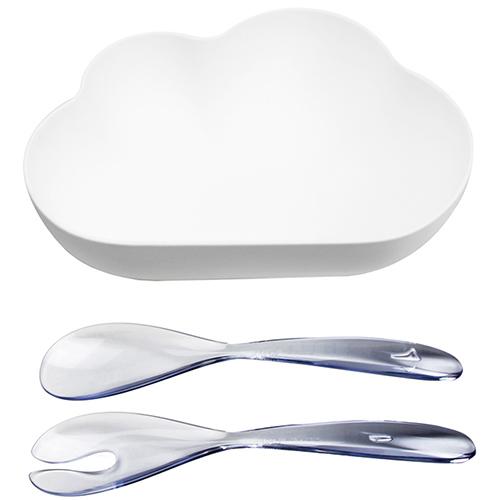 Салатница с ложками Qualy Cloud в форме облака, фото