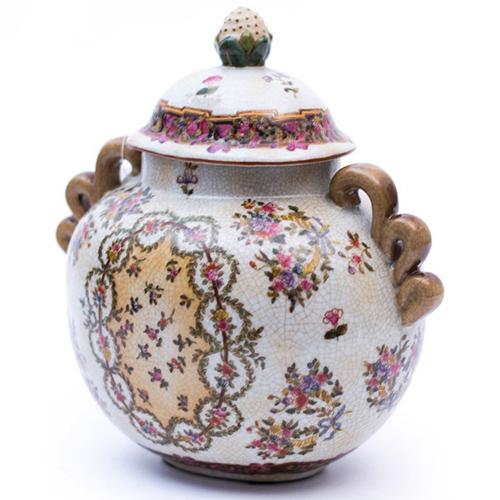 Горшочек для сладкого Royal Family Ancien Rouen с нарисоваными цветами, фото
