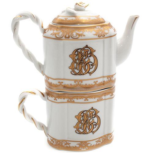 Чашка и заварник Royal Family с золотистой росписью, фото