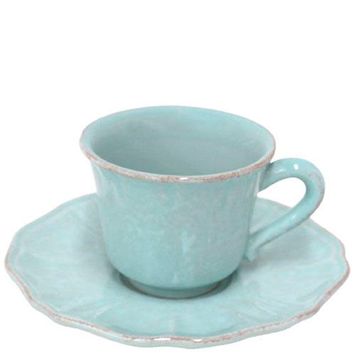 Кофейная чашка с блюдцем Costa Nova Impressions из голубой керамики, фото
