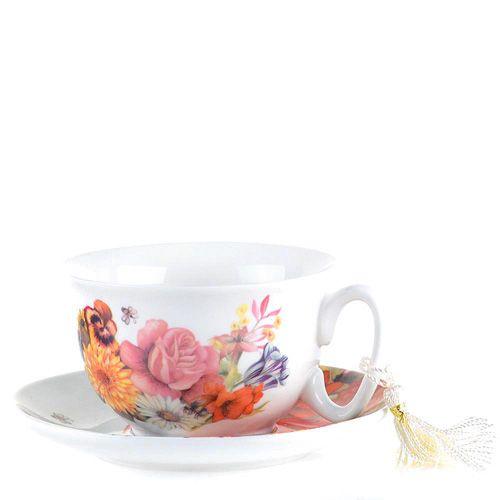 Чайная пара Brivogue из фарфоровых чашки и блюдца с цветами, фото