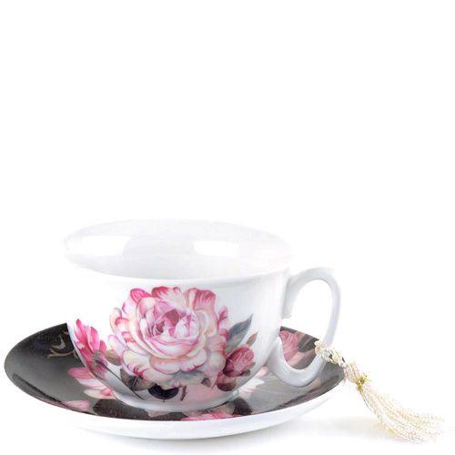 Чайная пара Brivogue из фарфоровых белой чашки и темного блюдца в цветах, фото
