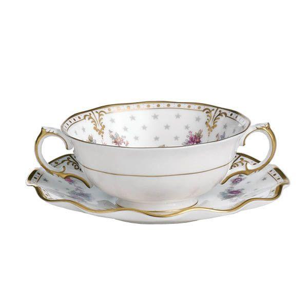 Чашка суповая с блюдцем Royal Crown Derby Antoinette