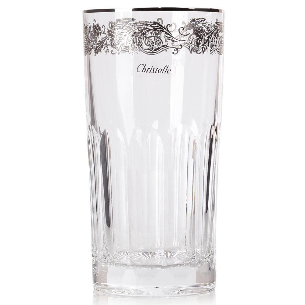 Хрустальный стакан для сока Christofle с платиновой отделкой