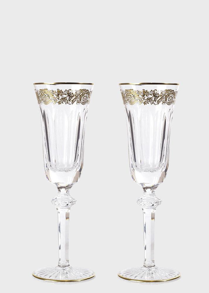Хрустальный бокал для шампанского Christofle Orangerie Or с позолотой