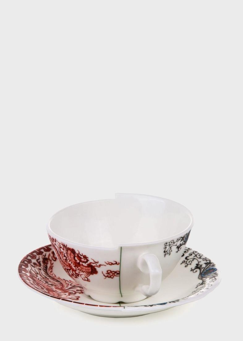 Чайная чашка с блюдцем Seletti Hybrid Zora из фарфора