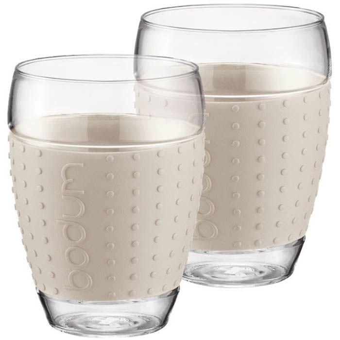 Набор стаканов Bodum Pavina с силиконовыми вставками белого цвета 450 мл