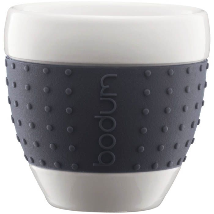 Набор чашек Bodum Pavina фарфоровые с силиконовыми вставками темно-серого цвета