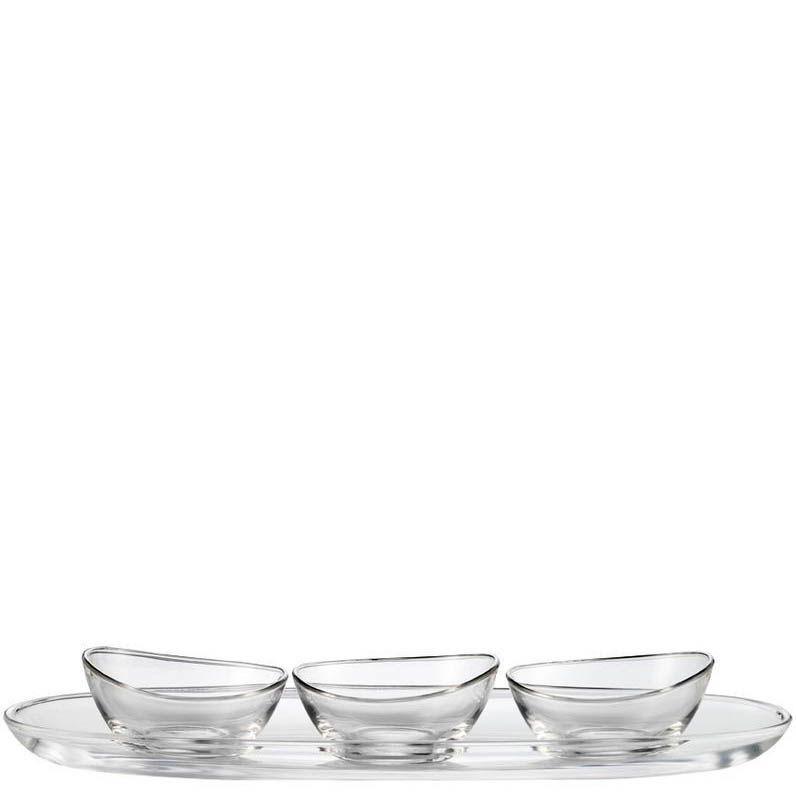 Набор Schott Zwiesel Lagoon из сервировочного блюда с 3 пиалами из прочного хрустального стекла