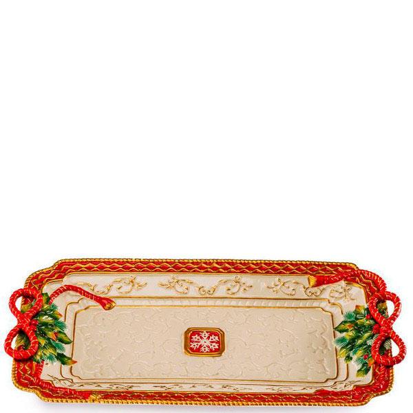 Прямоугольное блюдо Palais Royal с красным кантом