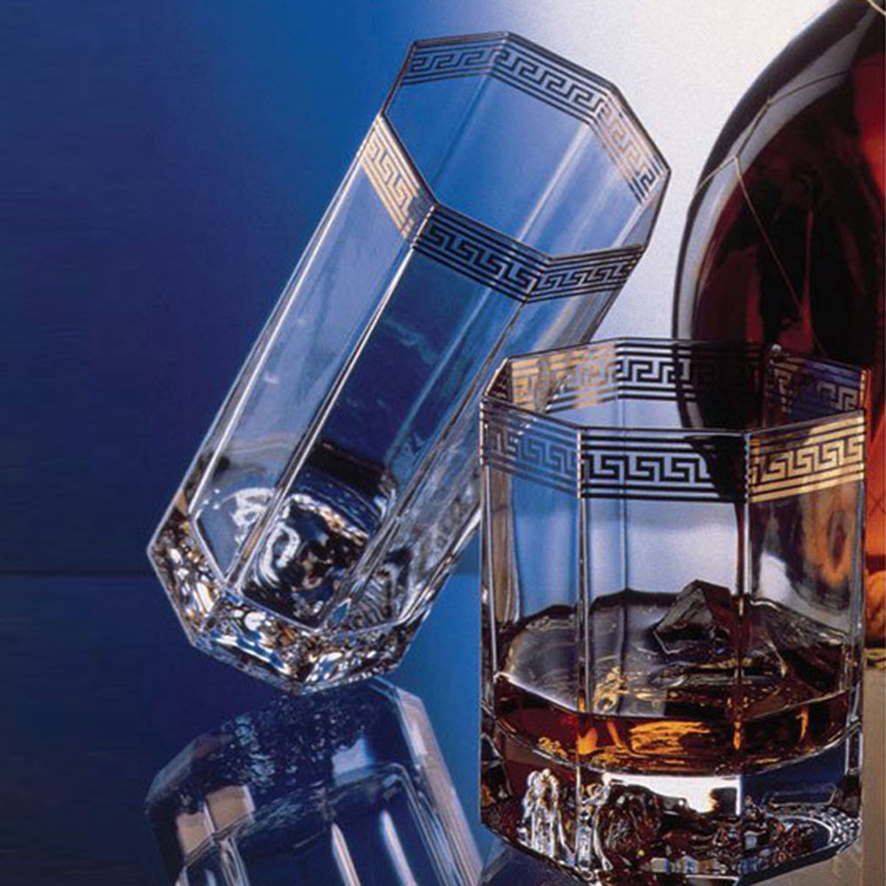 Набор из двух стаканов Rosenthal Versace Medusa Lumiere d'Or для виски