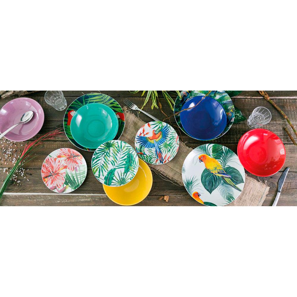 Яркий набор тарелок на 6 персон Villa d'Este Джунгли