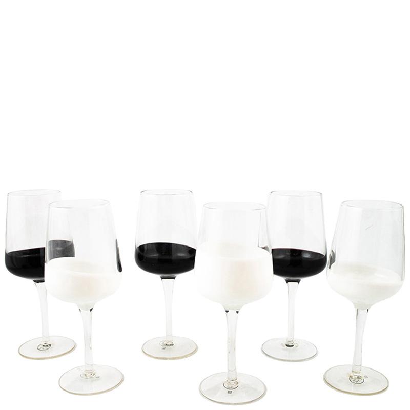 Набор бокалов Villa D'este Miami с черной и белой заливкой 6шт