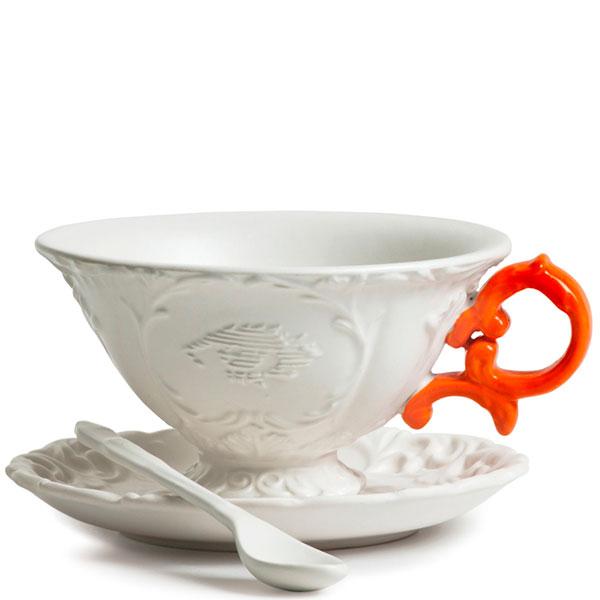 Чашка Seletti I-Tea с блюдцем и ложкой оранжевая