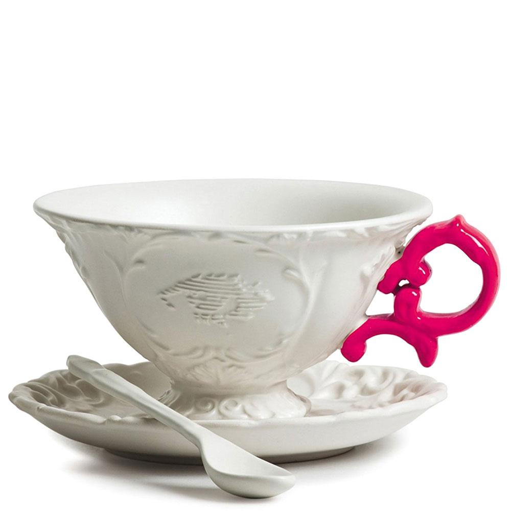Чашка Seletti I-Tea с блюдцем и ложкой розовая