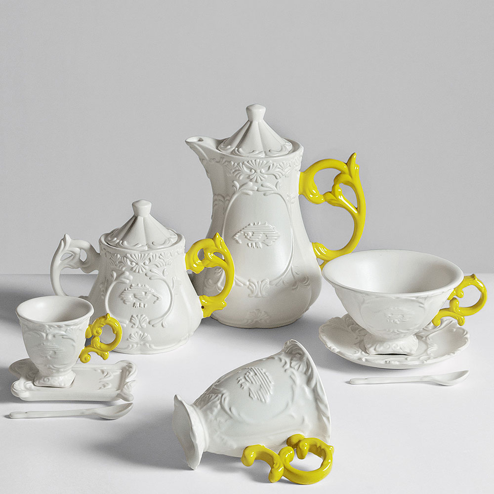 Чашка Seletti I-Tea с блюдцем и ложкой желтая