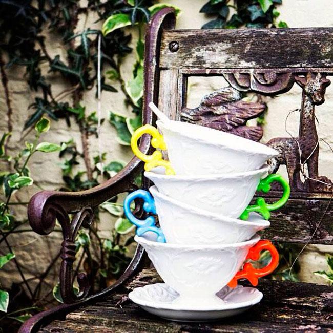 Чашка Seletti I-Tea с блюдцем и ложкой зеленая
