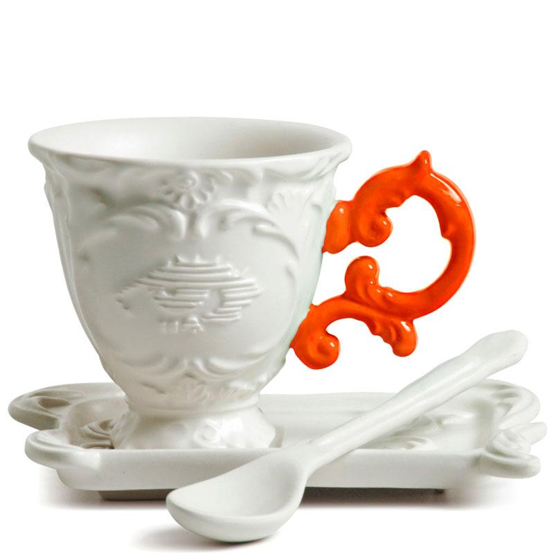 Кофейная чашка Seletti Coffee с блюдцем и ложкой оранжевая