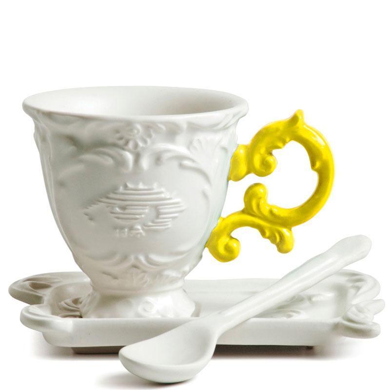 Кофейная чашка Seletti Coffee с блюдцем и ложкой желтая