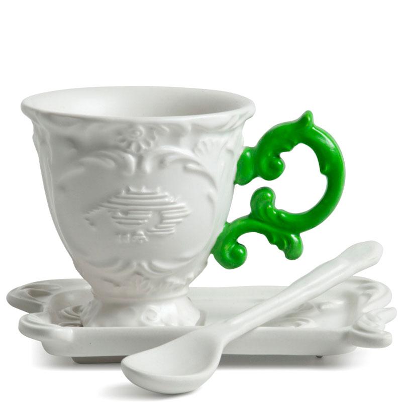 Кофейная чашка Seletti Coffee с блюдцем и ложкой зеленая