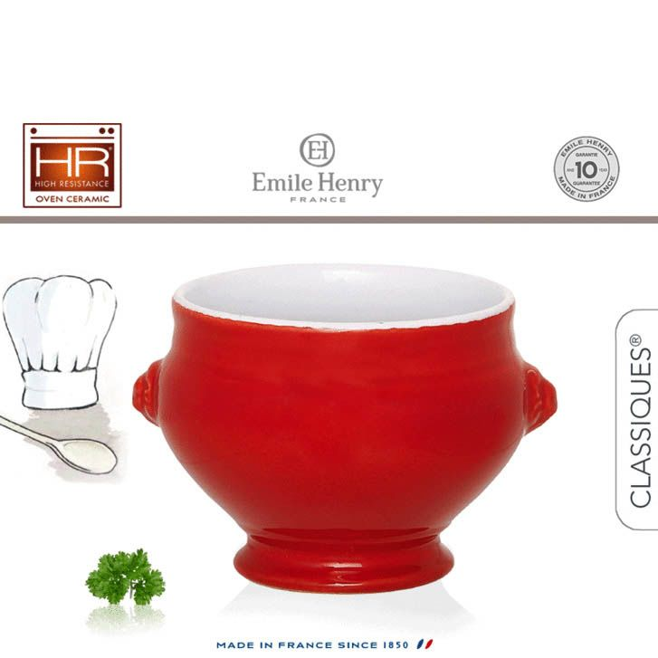 Тарелка для супа Emile Henry Classique Cerise 550 мл бело-красная