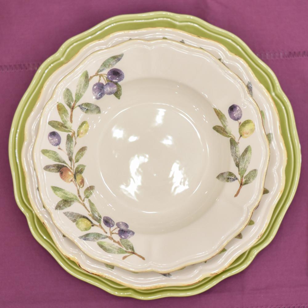 Набор подставных тарелок Villa Grazia Яркое лето салатового цвета на 6 персон