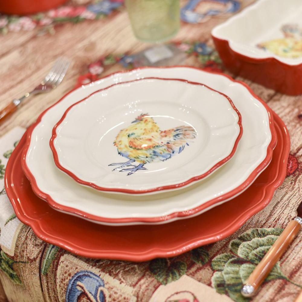 Тарелка подставная Villa Grazia красного цвета 33см