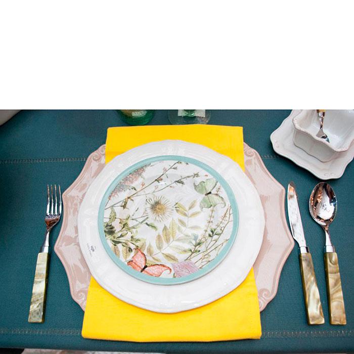 Набор столовых приборов на 6 персон Rivadossi Charme оливкового цвета