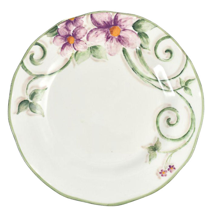 Тарелка обеденная Bizzirri Samantha 30см с декором-цветами