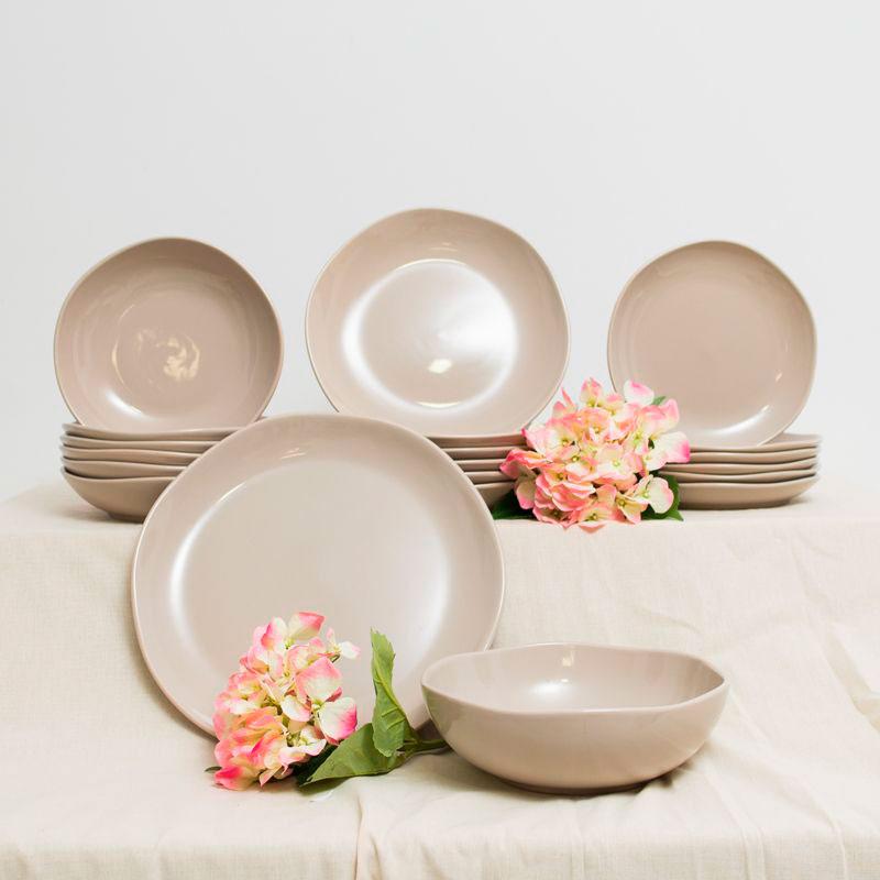 Бежевый набор керамических тарелок Comtesse Milano Ritmo для супа на 6 персон