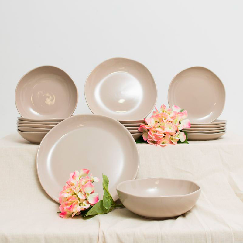 Набор из 6 обеденных тарелок Comtesse Milano Ritmo из бежевой керамики