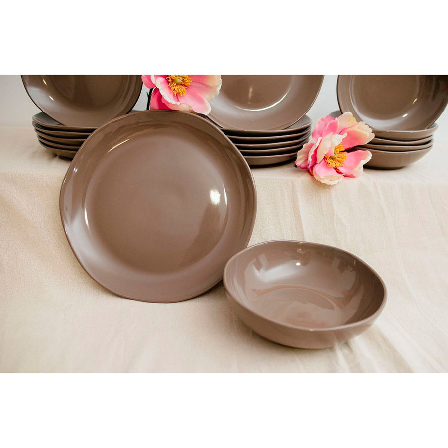 Керамический салатник Comtesse Milano Ritmo коричнево-серый