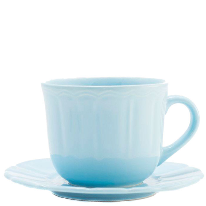 Чашка для чая с блюдцем Comtesse Milano Ritmo из голубой керамики