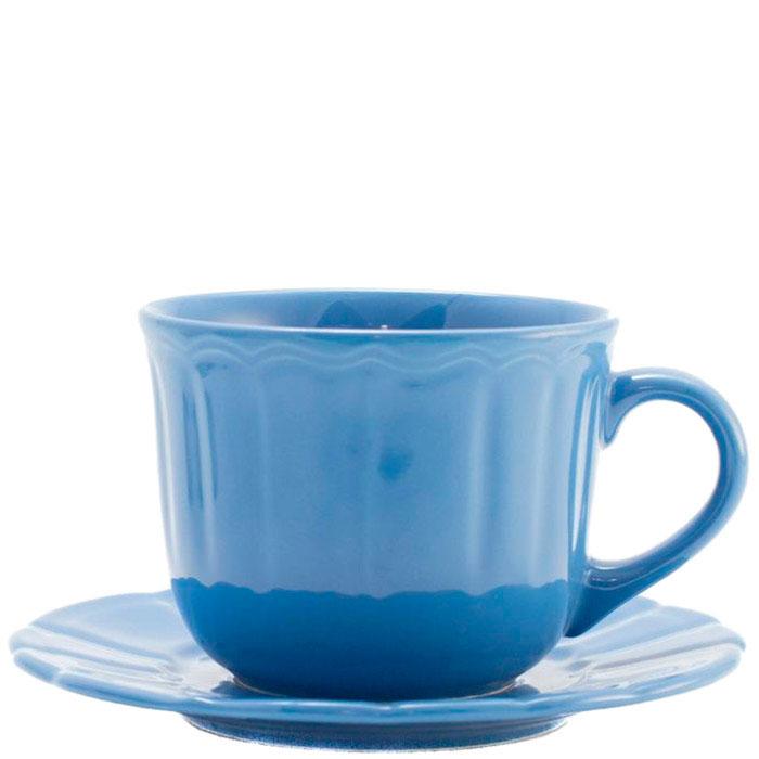 Чашка для чая с блюдцем Comtesse Milano Ritmo синего цвета