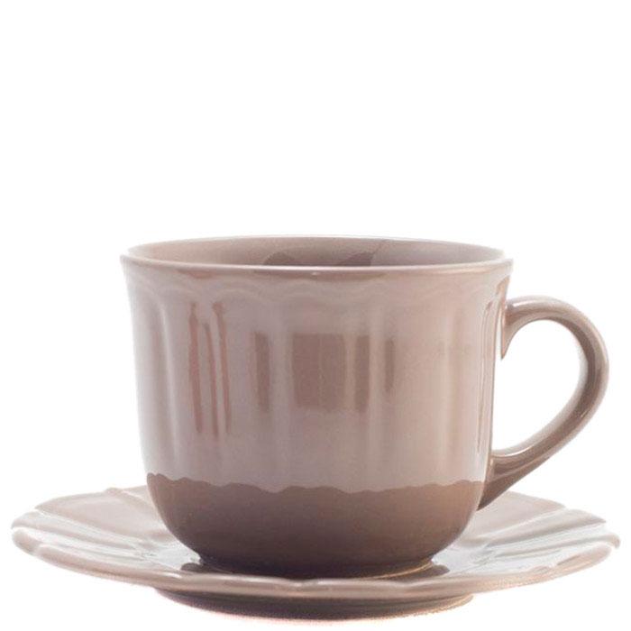 Чайная пара Comtesse Milano Ritmo коричневого цвета