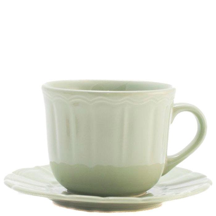 Чашка для чая с блюдцем Comtesse Milano Ritmo светло-зеленая